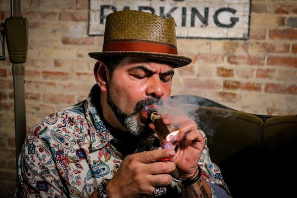 Father smoking a cigar